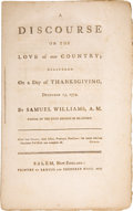 Books:Pamphlets & Tracts, Samuel Williams. A Discourse on the Love of Our Country;Delivered on a Day of Thanksgiving, December 15, 1774. ...