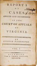 Books:Non-fiction, Bushrod Washington. Reports of Cases Argued and Determined inthe Court of Appeals of Virginia. Richmond: Thomas... (Total: 2Items)