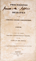 Books:Pamphlets & Tracts, [Virginia Constitutional Convention]. Proceedings and Debates of the Virginia State Convention, of 1829-30....