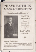 Books:Signed Editions, Calvin Coolidge. Have Faith in Massachusetts. A Collection ofSpeeches and Messages by Calvin Coolidge. Boston a...