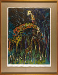 Mainstream Illustration, LEROY NEIMAN (American b. 1927). Giraffe Family, 1977.Serigraph print. 39 x 28 in.. Signed lower right in pencil. ...