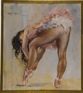 Pin-up and Glamour Art, PAL FRIED (American/Hungarian 1893 - 1976). Ballerina TyingShoe. Oil on canvas. 34 x 30 in.. Signed upper left. ...