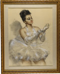 Pin-up and Glamour Art, PAL FRIED (American/Hungarian 1893 - 1976). Ester Deak.Pastel on paper. 32 x 24 in.. Signed lower left. ...