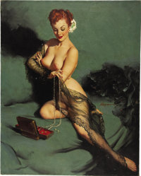 GIL ELVGREN (American 1914 - 1980) Fascination, 1952 Oil on canvas 30 x 24 in. Signed right-ce