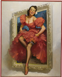 GIL ELVGREN (American 1914 - 1980) Stepping Out, 1953 Oil on canvas 30 x 24 in. Signed lower c
