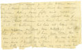 """Autographs:Military Figures, Confederate General George E. Pickett Autograph Letter Signed """"George"""", one page, 8"""" x 3.75"""", front and verso, [n.p., n...."""