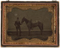 Western Expansion:Cowboy, ¼ Plate Tintype Photograph of Man Holding Saddled Horse ca 1870s -...