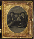 Photography:Tintypes, Sixth Plate Tintype of Two men Posing with Playing Cards ca 1870s -...