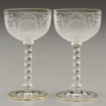 Art Glass:Other , PROPERTY FROM THE ESTATE OF TOMMY LEE MILES. TWO GLASS GOBLETS.19th-20th Century. 4-5/8 inches (11.7 cm) high, each. ... (Total: 2Items)