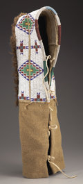 American Indian Art:Beadwork and Quillwork, A SIOUX BEADED HIDE BABY CARRIER. c. 1900...