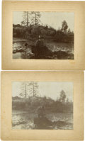 "Western Expansion:Goldrush, Lot of Two Photographs of Man Mining with ""The Judge"" in Creek ca1890s. ... (Total: 2 Items)"