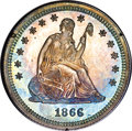 Proof Seated Quarters, 1866 25C Motto PR64 PCGS....