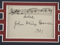 Autographs:Celebrities, John Philip Sousa Autograph Music Quote Signed...