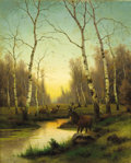 Fine Art - Painting, Russian:Modern (1900-1949), Attributed to EFIM A. TIKHMENEV (Russian, 1869-1934). Elk in theForest at Dawn. Oil on canvas. 27 x 21-1/2 inches (68.6...