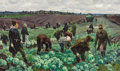 Fine Art - Painting, Russian:Modern (1900-1949), VASILY PAVLOVICH BORISENKOV (Russian, 1924-2007). In the CabbageFields, 1958. Oil on canvas. 22-3/4 x 38-3/8 inches (57...