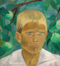 Fine Art - Painting, Russian:Modern (1900-1949), VICTOR PROSHKIN (Russian, 1899-1958). The Boy Under the AppleTree, 1934. Oil on canvas. 14 x 12-1/2 inches (35.6 x 31.8...