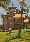 Fine Art - Painting, Russian:Contemporary (1950 to present), YURI SEMENYUK (Russian, b. 1922). Rural Church of Novgorod,1969. Oil on board. 34 x 26 inches (86.4 x 66.0 cm). Signed ...