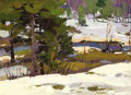 Fine Art - Painting, Russian:Contemporary (1950 to present), NIKOLAI ULIANOV (Russian, b. 1922). Winter Creek, 1959. Oilon board. 6-3/4 x 9-1/4 inches (17.1 x 23.5 cm). Inscribed v...