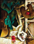 Paintings, PAVEL BROZGOL (Russian, 20th century). Still Life with Artist Palette and Violin, 1975. Oil on canvas. 35-1/2 x 27-1/2 i...