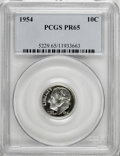 Proof Roosevelt Dimes: , 1954 10C PR65 PCGS. PCGS Population (158/890). NGC Census:(48/649). Mintage: 233,300. Numismedia Wsl. Price for NGC/PCGS c...