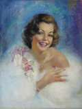 Pin-up and Glamour Art, ZOE MOZERT (American 1904 - 1993). Portrait. Pastel onpaper. 22 x 17 in.. Signed lower left. ...