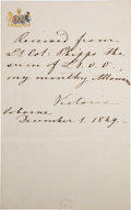 Autographs:Non-American, Empress Victoria of Germany, Autograph Note Signed, as PrincessRoyal of the United Kingdom,...