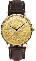 Timepieces:Wristwatch, Corum Men's $20 Gold Coin, Gold Wristwatch, circa 1980. ...