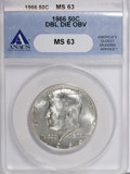 Kennedy Half Dollars, 1966 50C Double Die Obverse MS63 ANACS. NGC Census: (11/141). PCGSPopulation (34/321). Mintage: 108,984,928. Numismedia Wsl...