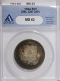 Kennedy Half Dollars, 1964 50C Double Die Obverse MS63 ANACS. NGC Census: (99/1148). PCGSPopulation (115/2405). Mintage: 273,300,000. Numismedia ...