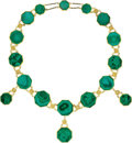 Estate Jewelry:Necklaces, Victorian Malachite, Gold Necklace. ...