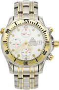 Timepieces:Wristwatch, Omega Men's Gold, Stainless Steel Seamaster ProfessionalChronograph Wristwatch, modern. ...
