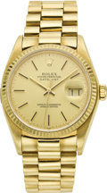 Timepieces:Wristwatch, Rolex Gold Oyster Perpetual Datejust Wristwatch, circa 1984. ...