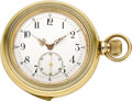 Timepieces:Pocket (pre 1900) , Swiss Gilt Quarter Hour Repeater, circa 1895. ...