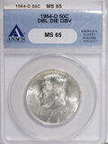 Kennedy Half Dollars, 1964-D 50C Double Die Obverse MS65 ANACS. NGC Census: (157/103).PCGS Population (491/413). Mintage: 156,205,440. Numismedia...