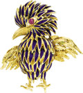 Estate Jewelry:Brooches - Pins, Diamond, Ruby, Enamel, Gold Brooch, Neiman Marcus. ...