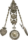 Timepieces:Pocket (pre 1900) , Sherwood, London, Silver Repousee Verge with Date and Chatelaine,circa 1780. ...
