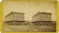 Photography:Stereo Cards, Stereoview Photograph Stagecoach at Hotel Topeka, Kansas 1870s-1880s....