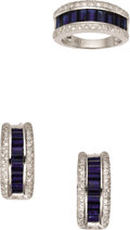Estate Jewelry:Suites, Sapphire, Diamond, White Gold Jewelry Suite. ... (Total: 3 Items)