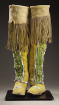 American Indian Art:Beadwork and Quillwork, A PAIR OF COMANCHE WOMAN'S BEADED HIDE BOOT MOCCASINS. c. 1880...(Total: 2 Items)