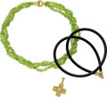 Estate Jewelry:Lots, Diamond, Peridot, Gold, Rubber Cord Necklace Lot, Katy Briscoe. ... (Total: 3 Items)