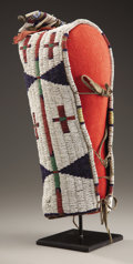 American Indian Art:Beadwork and Quillwork, A SIOUX BEADED HIDE MODEL BABY CARRIER. c. 1880...