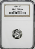 Proof Roosevelt Dimes: , 1955 10C PR67 Cameo NGC. NGC Census: (119/189). PCGS Population(155/46). (#85230)...