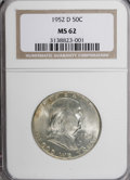 Franklin Half Dollars: , 1952-D 50C MS62 NGC. NGC Census: (15/661). PCGS Population(15/682). Mintage: 25,395,600. Numismedia Wsl. Price for NGC/PCG...
