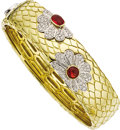 Estate Jewelry:Bracelets, Fire Opal, Diamond, Gold Bangle, Roberto Coin. ...