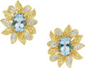 Estate Jewelry:Earrings, Aquamarine, Diamond, Gold Earrings. ... (Total: 2 Items)