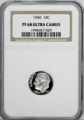 Proof Roosevelt Dimes: , 1960 10C PR68 Ultra Cameo NGC. NGC Census: (126/65). PCGSPopulation (228/111). Numismedia Wsl. Price for NGC/PCGS coin in...