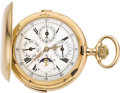 Timepieces:Pocket (pre 1900) , Swiss Gold Quarter Hour Repeater Chronograph with Moon Phase andCalendar, circa 1896. ...