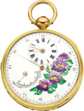 Timepieces:Pocket (pre 1900) , Swiss Unusual Gilt Fancy Dial Key Wind with Center Seconds andRegulator Index, circa 1830. ...