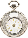 "Timepieces:Pocket (pre 1900) , Swiss Sterling Silver ""Mysterieuse"" Watch, circa 1880. ..."