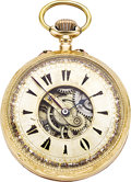 Timepieces:Pocket (pre 1900) , Swiss Gold Double Dial Captain's Watch, circa 1890. ...